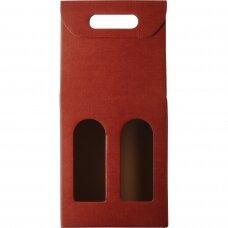 Kartoninė dėžutė 2 buteliams (raudona)